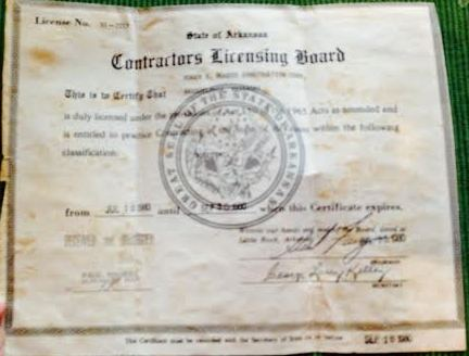 Contractor license from the 1950s